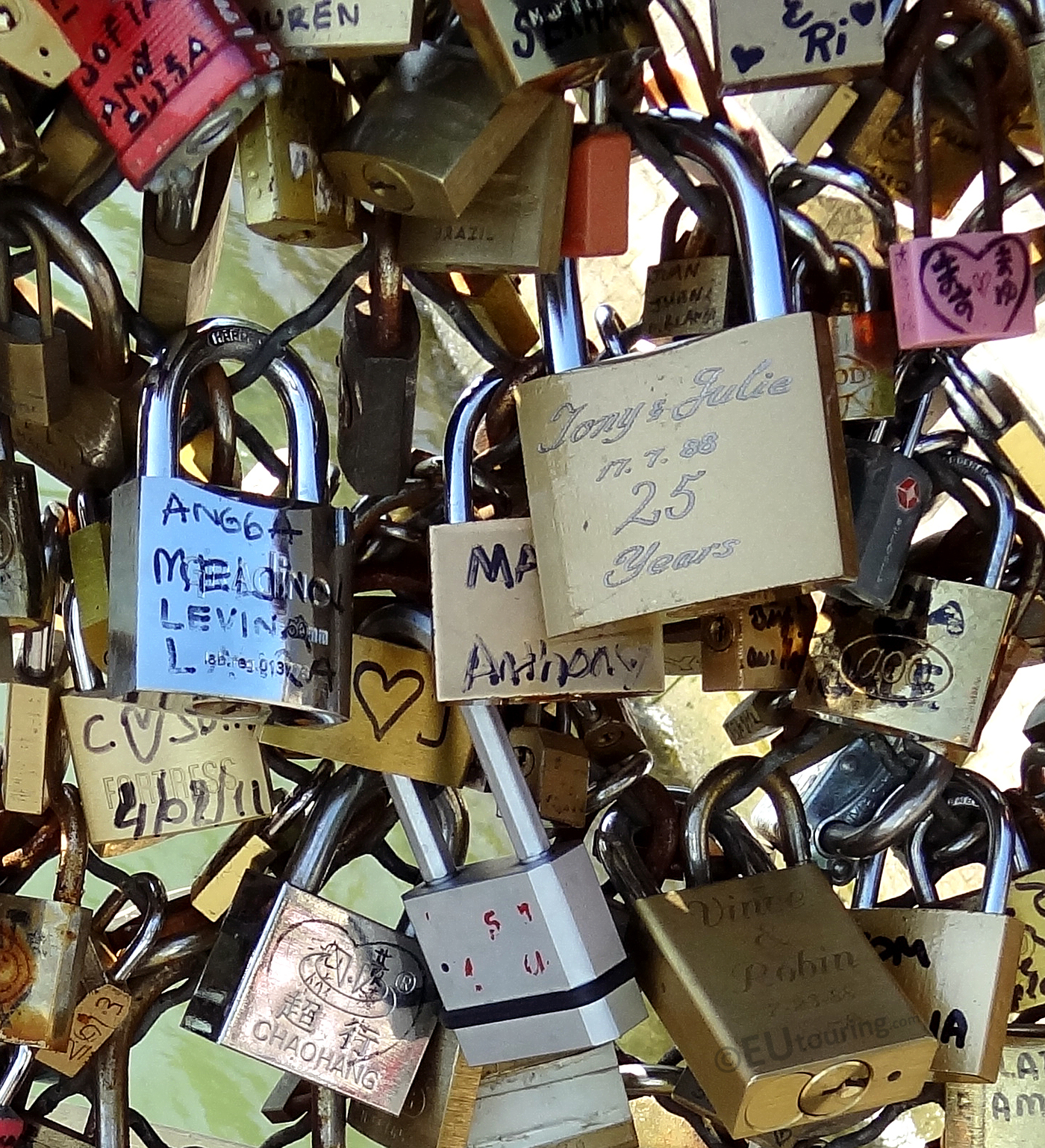 Varied locks on the Pont des Arts bridge