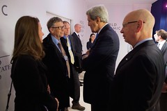 U.S. Secretary of State John Kerry chats with Bill and Melinda Gates after he addressed the World Economic Forum - founded by Executive Chairman Klaus Schwab, right - in Davos, Switzerland, on January 23, 2015.  [State Department photo/ Public Domain]