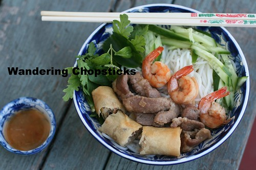 Bun Thit Heo Nuong, Tom, Cha Gio (Vietnamese Rice Vermicelli Noodles with Grilled Pork, Shrimp, and Egg Rolls) 9