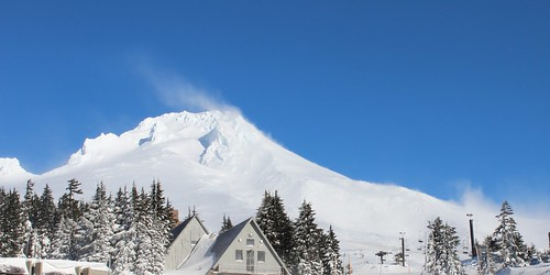 Wind rearranges the early season snowpack on Mount Hood, Oregon. NRCS photo by Spencer Miller.