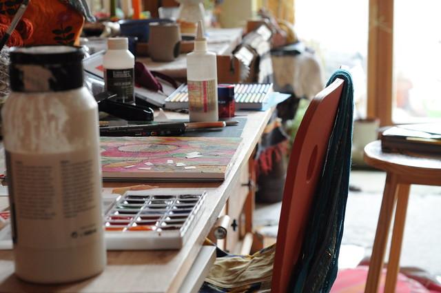 art journaling workspace