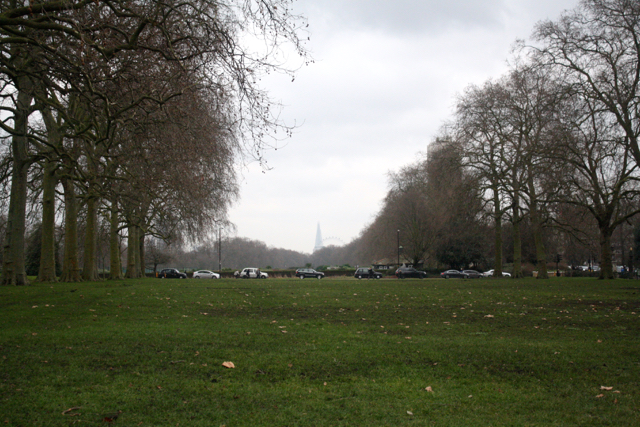 View of the shard and the London Eye from Kensington Gardens
