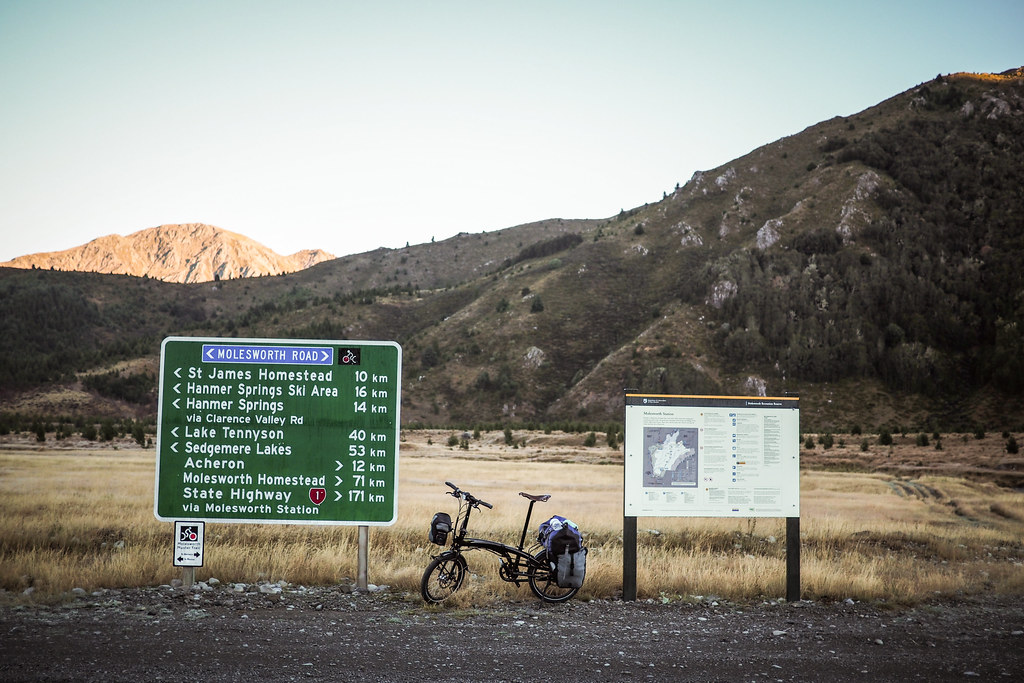 At the Tophouse Road and Jollies Pass junction, Molesworth Station, New Zealand