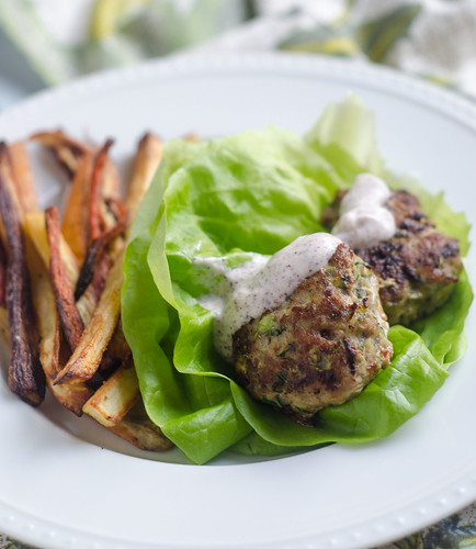 Middle Eastern-Spiced Turkey and Zucchini Lettuce Wraps with Creamy Sumac Sauce