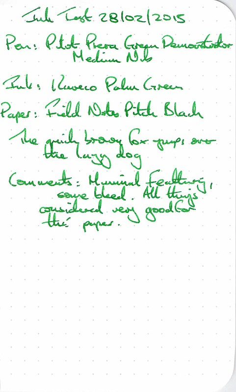 Kaweco Palm Green Ink Review - Field Notes