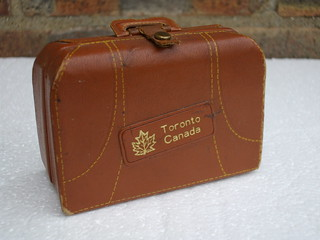Small Leather Suitcase From Toronto Canada Containing Vodka  Rum Gin & Rye Bottles Mid Century Kitsch