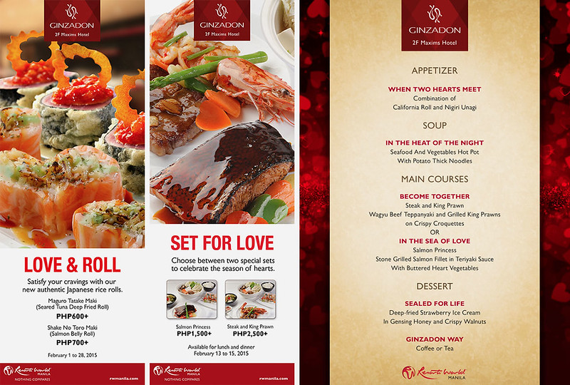 Valentine's Menu at Ginzadon