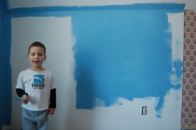 Caleb likes to paint