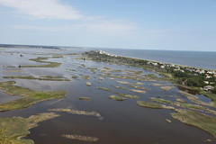 An aerial view of the Prime Hook National Wildlife Refuge coast