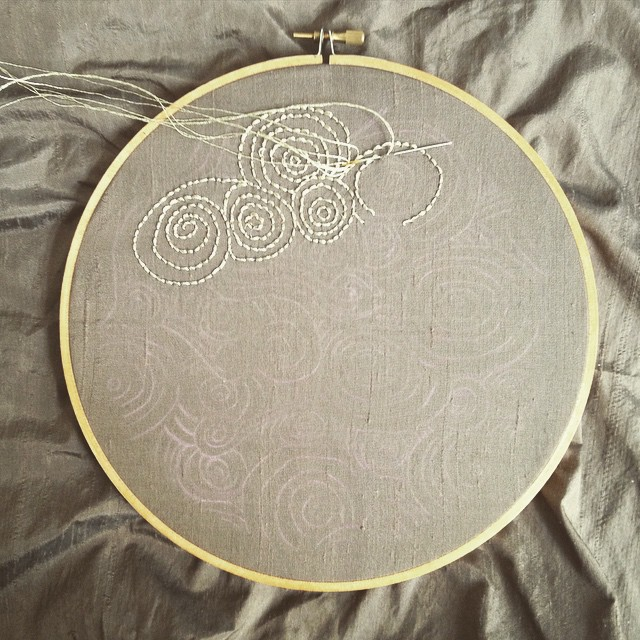#embroidery in progress: a preview of the #airembroideryclub April project. Metallic floss is tricky to use but I'm loving the way it looks.