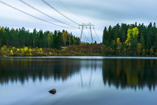 autumn fall lake water powerlines wood tree outdoor longexposure sweden europe sormlandsleden skirsjon redfurwolf sonyalpha sony