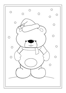A teddy bear in a santa hat colouring sheet