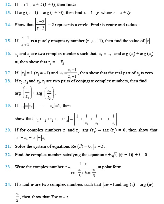 Class 11 Important Questions for Maths Complex Numbers and – Imaginary Number Worksheet