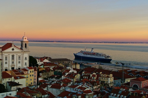 Lisbon seen from Alfama at the end of the day
