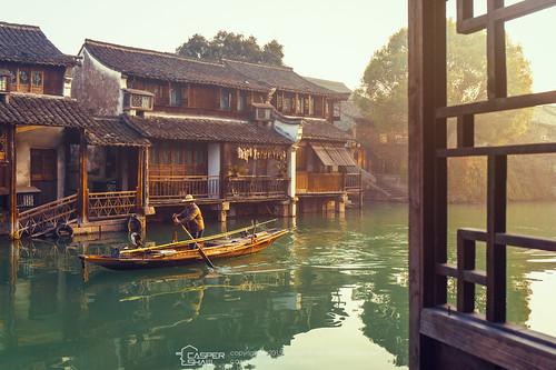 china sunrise town fisherman laborer