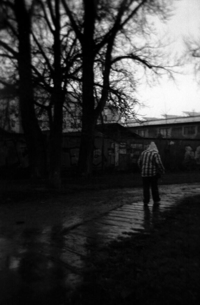 Holga 120FN - Man Walking in the Rain