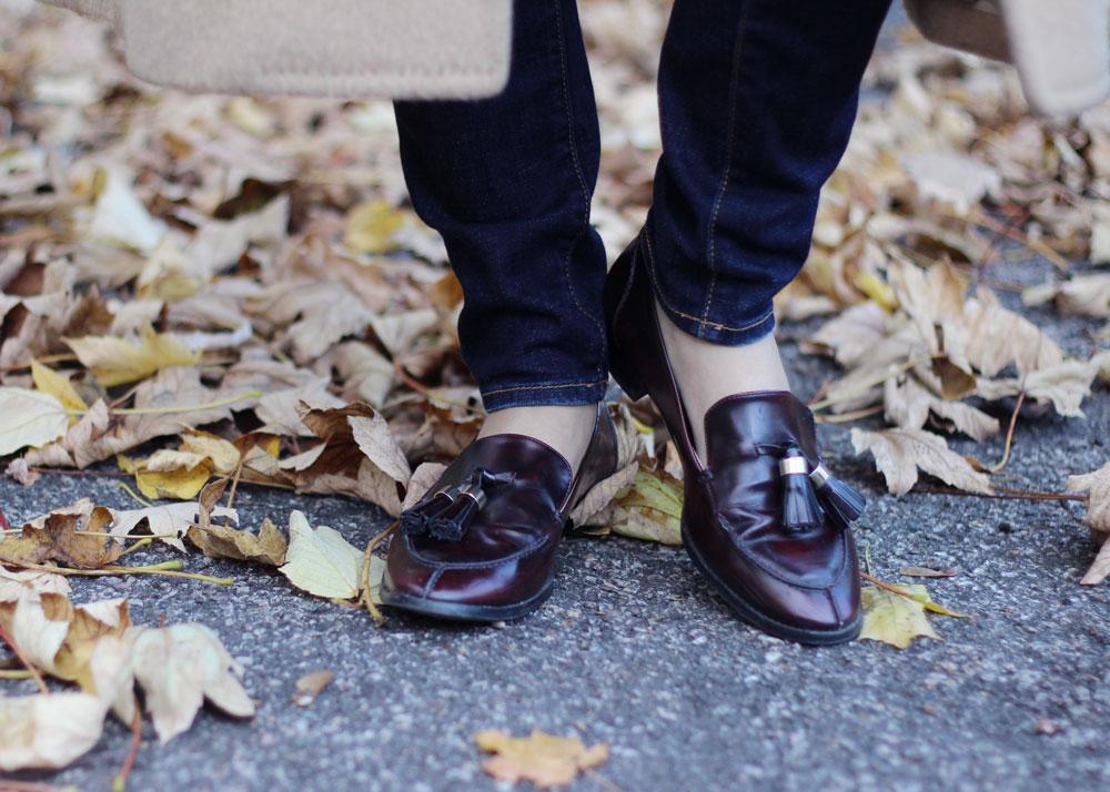 Brown tassel leather loafers women