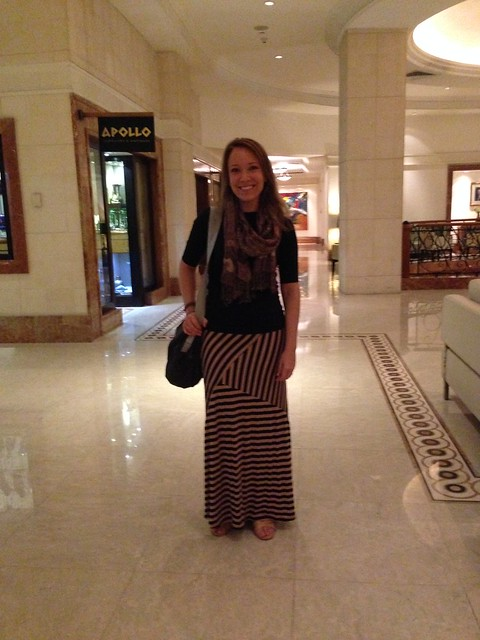 What To Wear In Jordan - Rachelle in Jordan wearing a long skirt and 3/4 sleeve shirt.