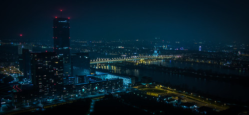 vienna wien city longexposure sky water skyline architecture night buildings river dark landscape lights austria landscapes shadows view centre kitlens clear eruope citycentre offices nightfall wenen donau donauturm longxposure