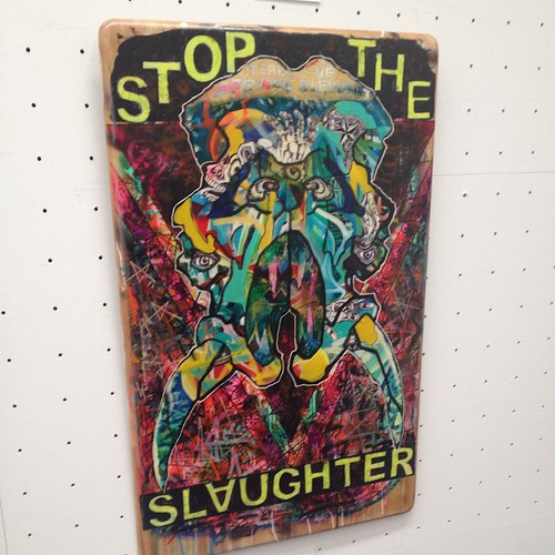 "A piece that says ""Stop the Slaughter"" with an elephant print in the Citizens' Gallery at the Tokyo Museum of Metropolitan Art in Ueno Park."