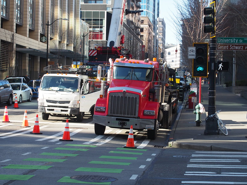 Cycletrack Closure: The bicycle infrastructure is unfortunately usually the first to go.