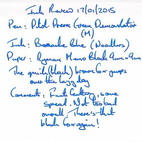 Noodler's Bernanke Blue Ink Review - Ryman Memo
