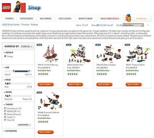 Product Listing View - LEGO Shop Pirates