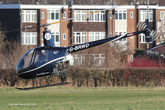 G-BRWD - 1989 build Robinson R22 Beta, departing Barton after a brief visit