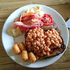 vegetable(0.0), vegetarian food(0.0), produce(0.0), meal(1.0), breakfast(1.0), meat(1.0), food(1.0), full breakfast(1.0), dish(1.0), cuisine(1.0), baked beans(1.0),