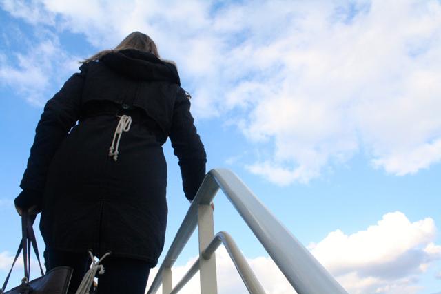 Climbing onto the boat to cross the Rhine, Bonn