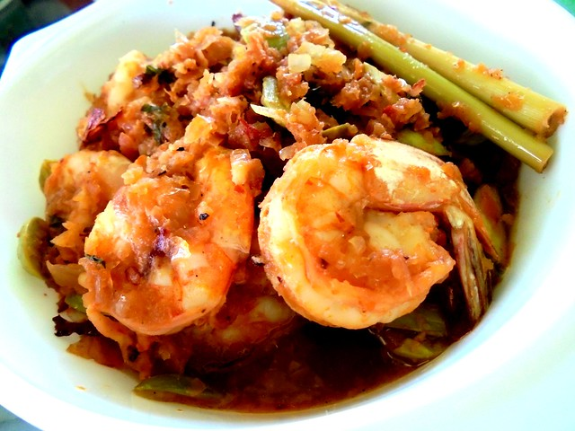 Sambal prawns with petai