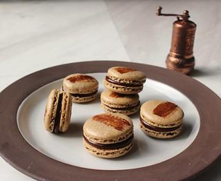 Turkish coffee macarons with cardamon dark chocolate coffee ganache