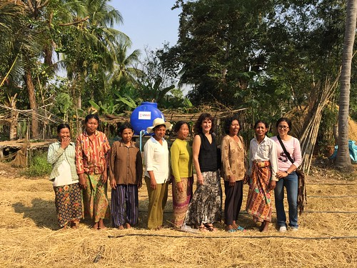group photo in field in Cambodia