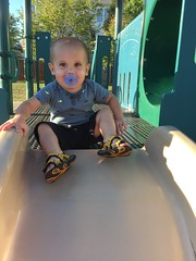 Meanwhile, back at home: Sawyer goes down the slide
