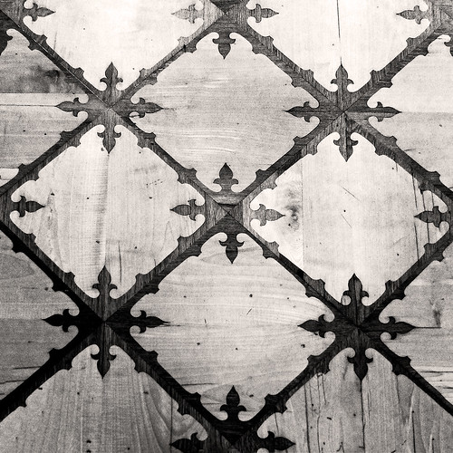 Wooden flooring in an old Abbey -