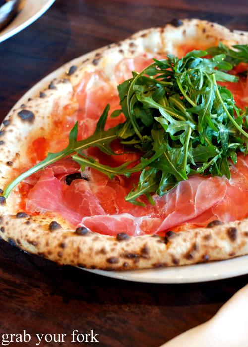 Pizza with rosciuotto and buffalo mozzarella at 400 Gradi, Brunswick