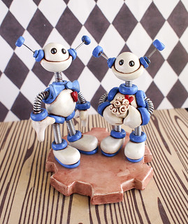 Robot Wedding Cake Topper in Blue and White