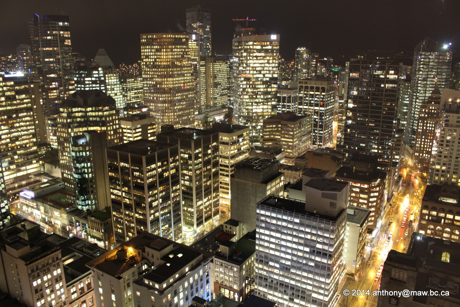IMG_8249 2014-12-04 Vancouver Night Harbour Centre Lookout. autumn, canada, rain, weather, night, vancouver, lookout, westcoast, harbourcentre. buy photo