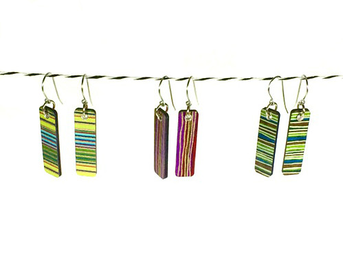 Mini Narrow Rectangle Striped Paper Earrings - Paper Julep