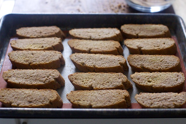 gingerbread biscotti, cooling