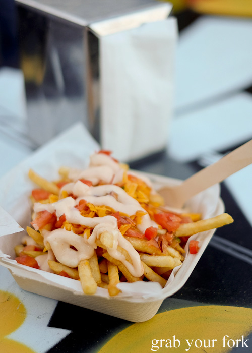 Dirty fries from the Mister Gee Burger Truck, Burwood Deluxe Car Wash