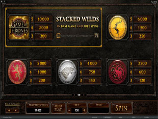 Game of Thrones – 15 Lines Slots Payout