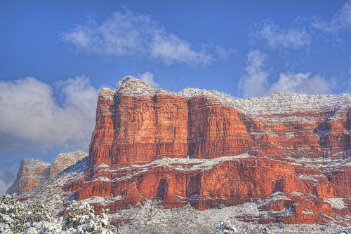 blue red arizona white snow sedona redrocks hdr
