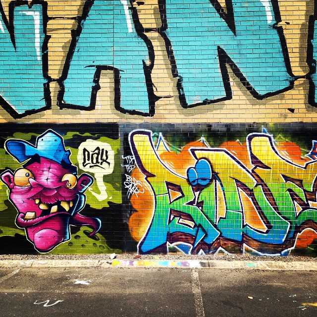 Detail from collab wall in Wendouree, Ballarat with @cax_one @tymeproductions (Bide) and Vanoe. Whole wall was just too damn big for Instagram.