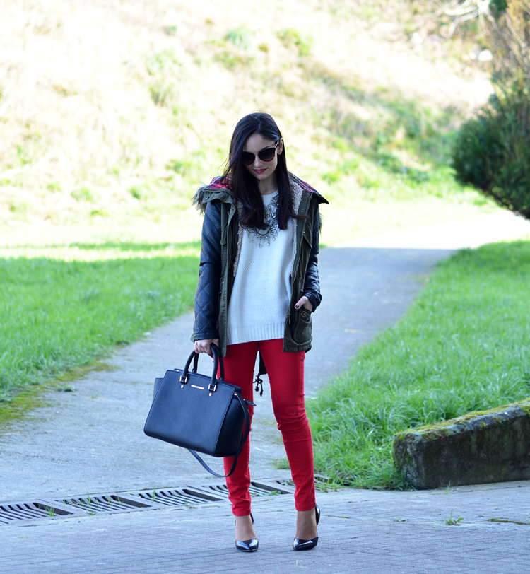 ZARA_ootd_chicwish_sheinside_parka_necklace_rojo_michael kors_02
