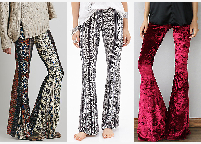 bohemian bell bottoms trousers pants velvet print