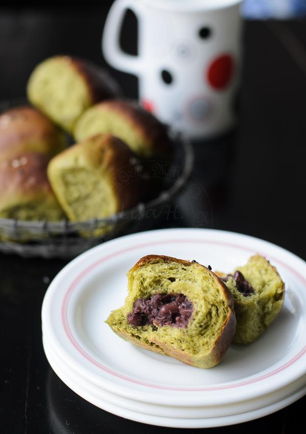 Green tea Buns with Adzuki beans