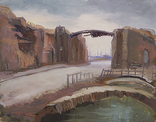 """Lille Gate, Ypres, Looking Outwards,"" a painting by Mary Riter Hamilton, 1921 /  « La Porte de Lille, à Ypres, en regardant vers l'extérieur »; tableau peint par Mary Riter Hamiltion en 1921"