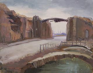 """""""Lille Gate, Ypres, Looking Outwards,"""" a painting by Mary Riter Hamilton, 1921 /  « La Porte de Lille, à Ypres, en regardant vers l'extérieur »; tableau peint par Mary Riter Hamiltion en 1921"""