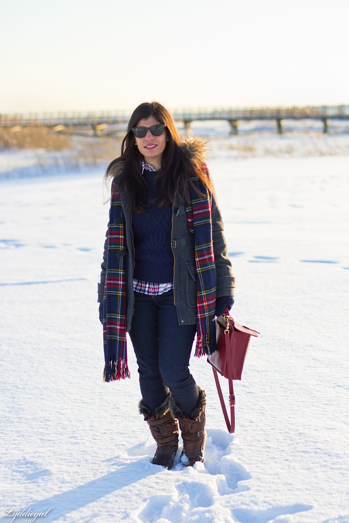 navy sweater, plaid shirt, plaid scarf, coat.jpg